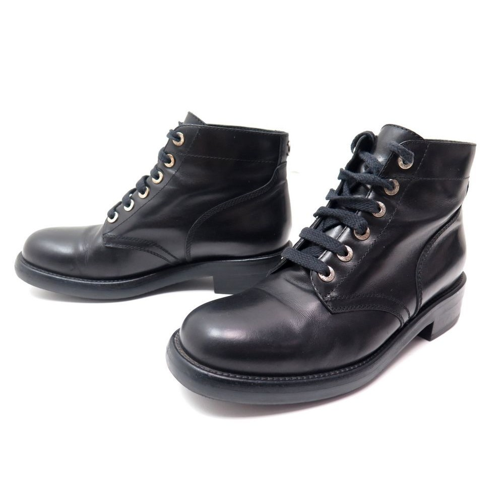CHAUSSURE CHANEL G29577 BOTTINES MONTANTES RANGERS 38.5 CUIR NOIR BOOTS  1050€. Loading zoom 9c0c8e80aa6