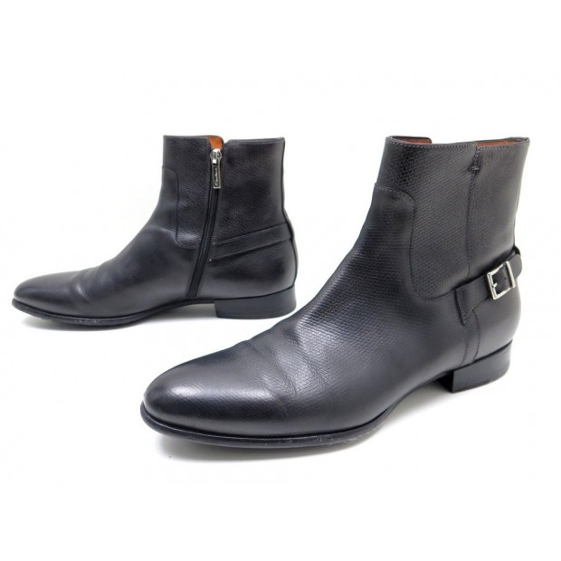 CHAUSSURES SANTONI 7.5 IT 42 BOTTINES EN CUIR GRIS ANTHRACITE BOOTS SHOES 670€