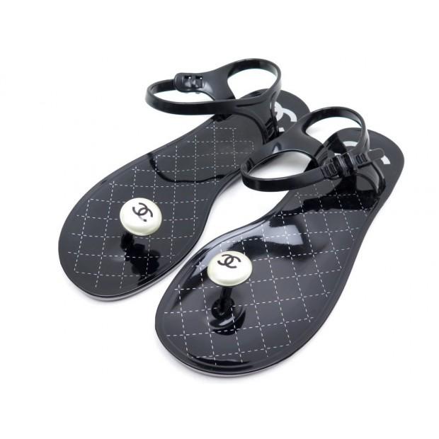 0781d74ed917 sandales chanel 38 en cuir verni noir black