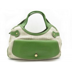 SAC A MAIN TODS CUIR ET TOILE VERT
