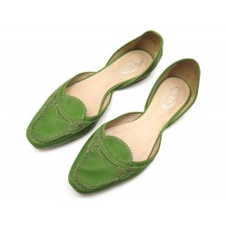 CHAUSSURES TOD'S BALLERINES 37 EN CUIR VERT GREEN LEATHER FLAT SHOES 490€