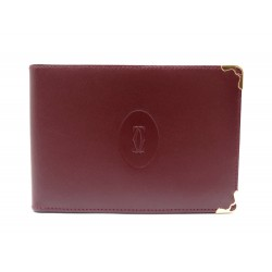 NEUF PORTE CHEQUIER MUST DE CARTIER EN CUIR BORDEAUX CHECK RACK BURGUNDY 450€