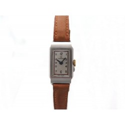MONTRE OMEGA 24 MM MECANIQUE RECTANGULAIRE EN ACIER ET CUIR MARRON STEEL WATCH