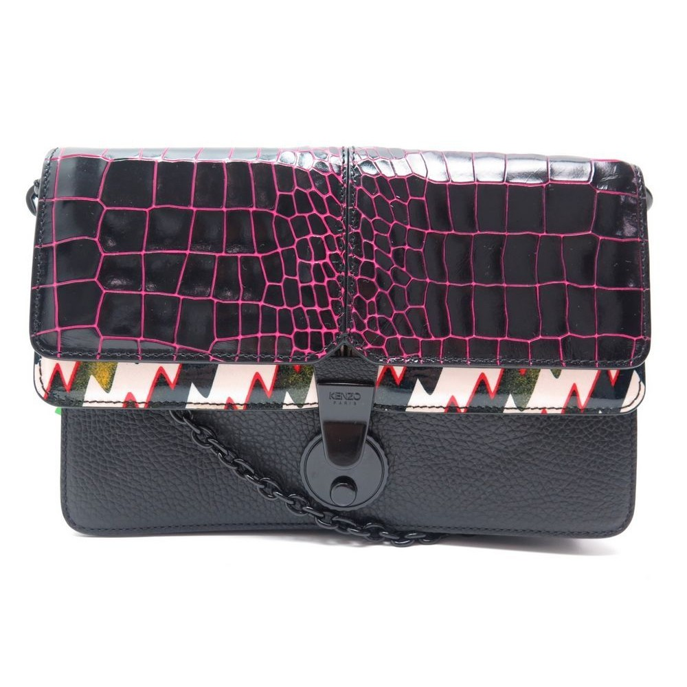 Neuf Sac A Main Kenzo 24cm En Cuir Facon Croco Noir Handbag Leather Purse 860 Loading Zoom