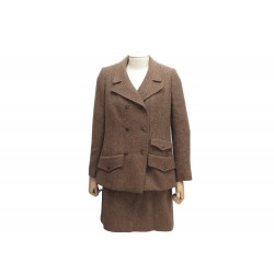 TAILLEUR JUPE CHANEL P09715 T40 L EN TWEED LAINE MARRON WOOL SUIT SKIRT 6500€
