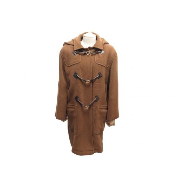 MANTEAU LONG HERMES L 40 DUFFLE COAT EN LAINE MARRON CAPUCHE COAT 3800€