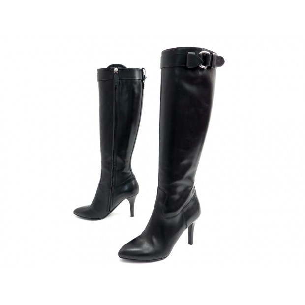 BOTTES BURBERRY HAYMARKET 37 CHAUSSURES EN CUIR NOIR LEATHER SHOES BOOTS 945€