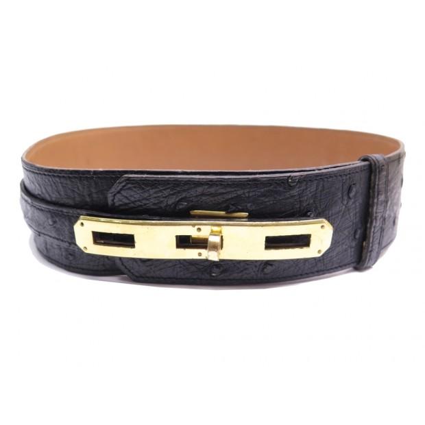 bc6a75345065 ceinture hermes large cuir d autruche noir t