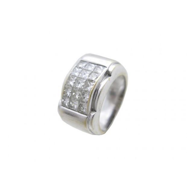 BAGUE T 50 EN OR BLANC 18K 12 GR SERTIE 15 DIAMANTS 1.65 CT DIAMONDS GOLD RING