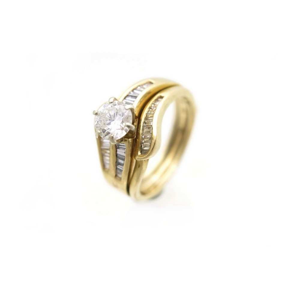 0c053fcafec VINTAGE BAGUE SOLITAIRE DIAMANT 1 CT EN OR JAUNE 14K 7 GR DIAMONDS GOLD  RING. Loading zoom