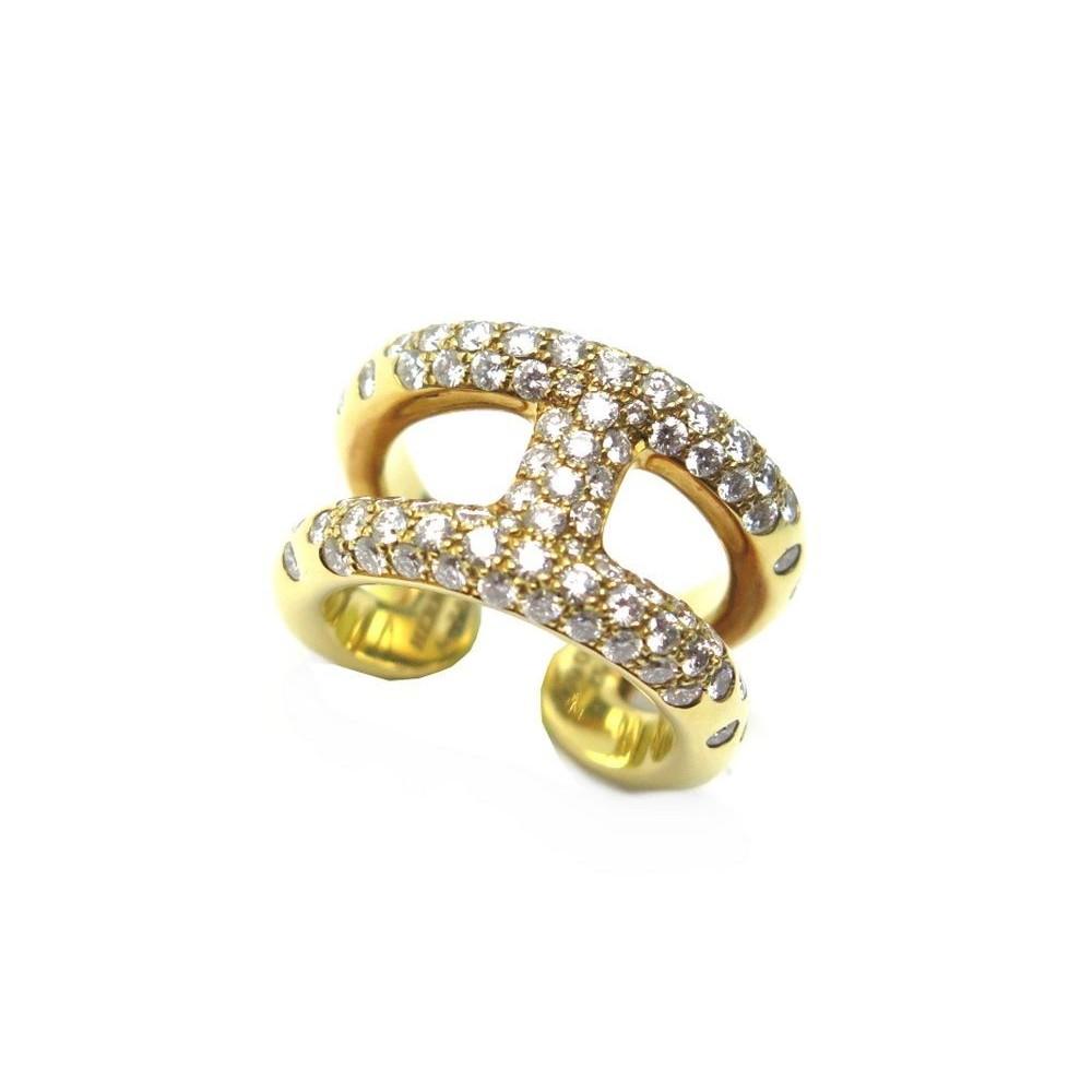 BAGUE HERMES OSMOSE T 52 EN OR JAUNE 18K   84 DIAMANTS DIAMONDS GOLD RING  12000. Loading zoom 67f85eba96f
