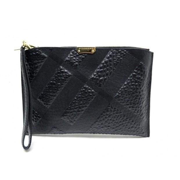 NEUF POCHETTE A MAIN BURBERRY CUIR NOIR SMALL HAND BAG BLACK LEATHER PURSE 590€
