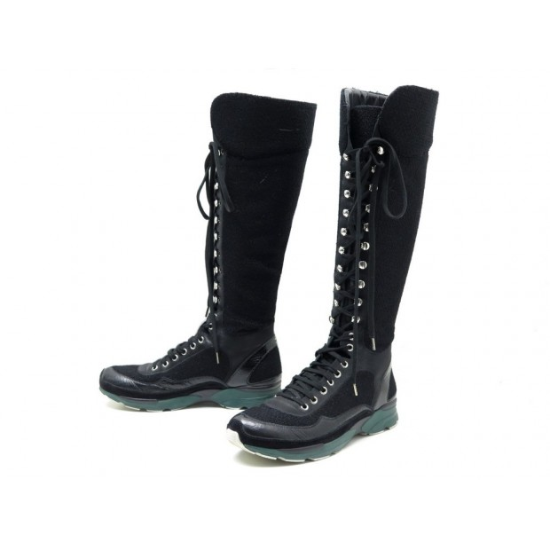 CHAUSSURES BOTTES SNEAKERS CHANEL 40 G30443 SUPERMARKET TWEED NOIR BOOTS 1590€