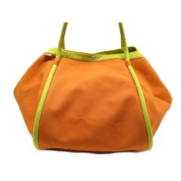 NEUF SAC A MAIN HERMES LINDY DE PLAGE GM EN COTON ORANGE LARGE BEACH HAND BAG