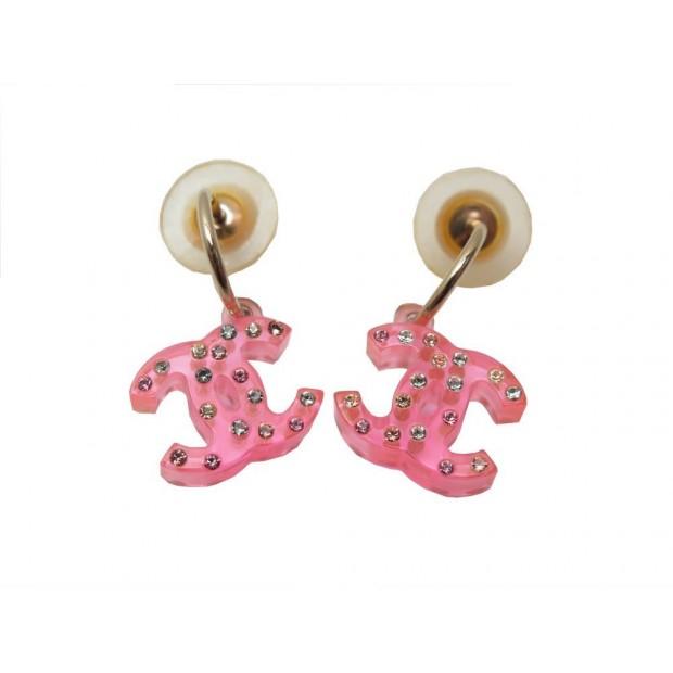 BOUCLES D'OREILLES CHANEL EN PLASTIQUE ROSE STRASS COLORES PINK EARRINGS 320€
