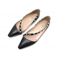 CHAUSSURES VALENTINO ROCKSTUD D'ORSAY NW0S0B99 37 CUIR NOIR BALLERINE SHOES 590€