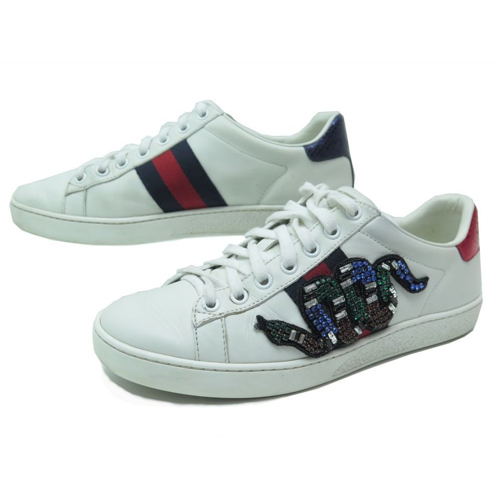 new concept c4866 29112 CHAUSSURES GUCCI ACE SERPENT BRODE 460203 36 BASKETS CUIR BLANC SNEAKERS  850€. Loading zoom