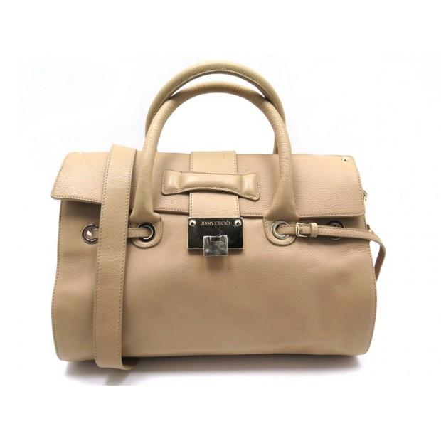 SAC A MAIN JIMMY CHOO ROSALIE BANDOULIERE EN CUIR BEIGE LEATHER BAG PURSE 1100€