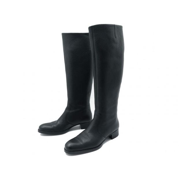 CHAUSSURES HESCHUNG BOTTES CAVALIERES 6 40 EN CUIR GRAINE NOIR BLACK BOOTS 890€