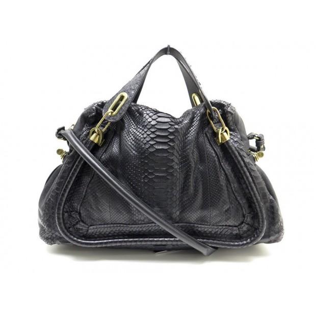 SAC A MAIN CHLOE PARATY GM EN CUIR PYTHON NOIR BANDOULIERE HAND BAG PURSE 3660€