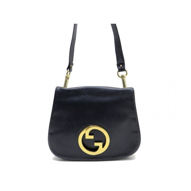 VINTAGE SAC A MAIN GUCCI GG 32 CM EN CUIR BLEU MARINE LEATHER HAND BAG PURSE