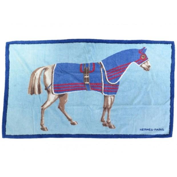 DRAP DE PLAGE HERMES SERVIETTE DE BAIN EN COTON BLEU CHEVAL HORSE TOWEL 430€