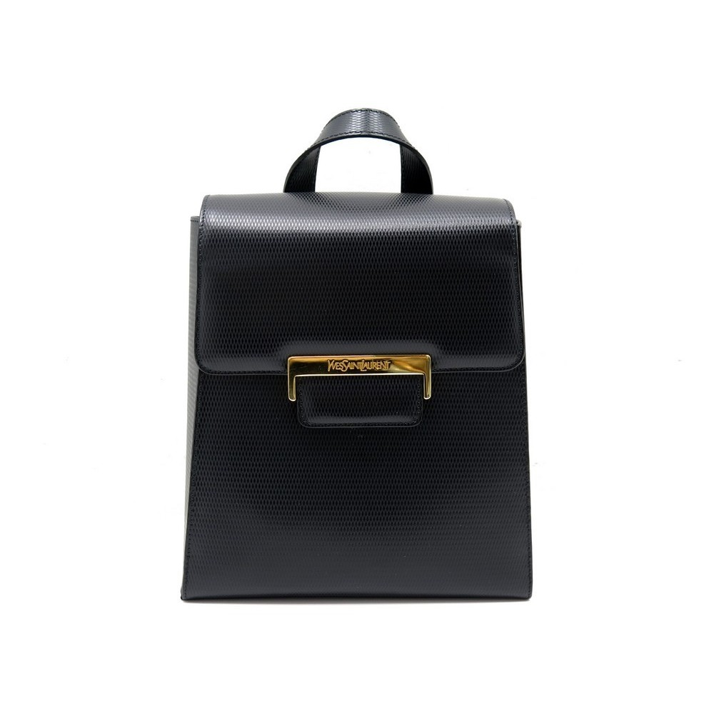 c57f474201 NEUF VINTAGE SAC A DOS YVES SAINT LAURENT 20 CM EN CUIR NOIR BLACK BACKPACK  BAG. Loading zoom