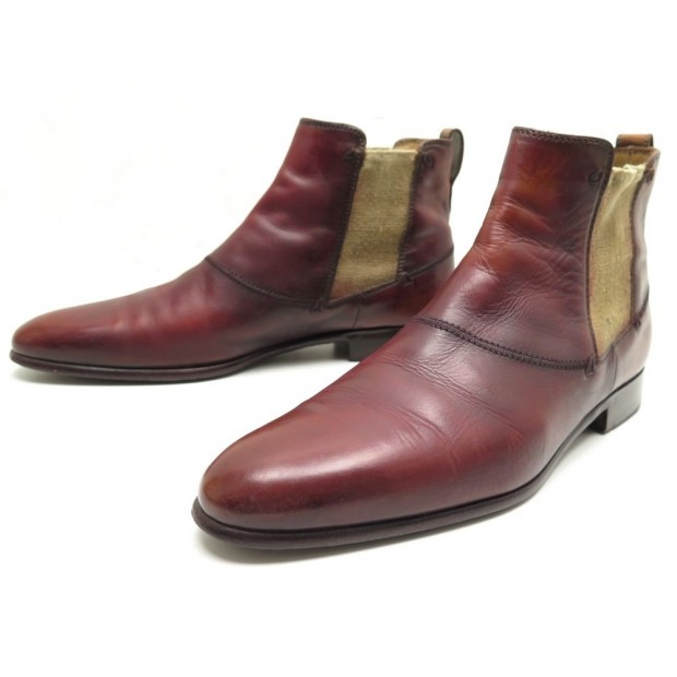 CHAUSSURES BOTTINES BERLUTI 1767 9 43 EN CUIR PATINE ROUGE LEATHER BOOTS 1680€