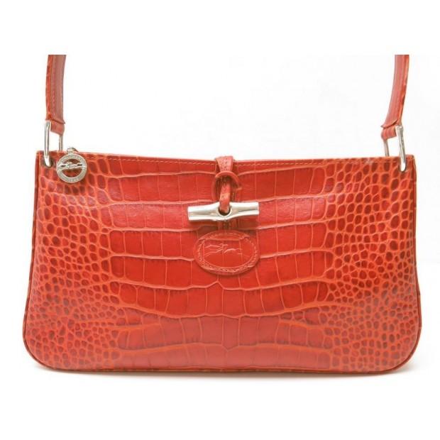 SAC A MAIN LONGCHAMP 2274158242 ROSEAU EN CUIR FACON CROCO ROUGE HAND BAG RED
