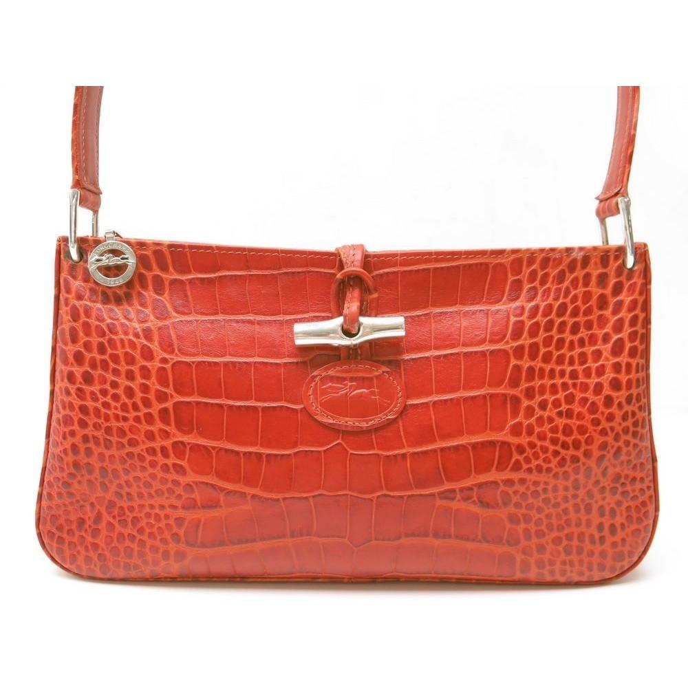 e050b9a147 SAC A MAIN LONGCHAMP 2274158242 ROSEAU EN CUIR FACON CROCO ROUGE HAND BAG  RED