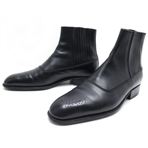 CHAUSSURES JM WESTON 580 BOTTINES 6.5D 41 BOUT FLEURI CUIR NOIR BLACK BOOTS 890€