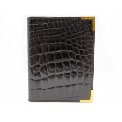 NEUF PORTE AGENDA CHRISTIAN DIOR CUIR DE CROCODILE MARRON LEATHER DIARY HOLDER