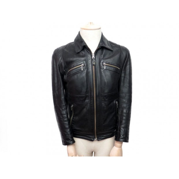 VESTE EN CUIR REDSKINS S 46 HOMME BLOUSON EN CUIR NOIR LEATHER JACKET COAT 350€