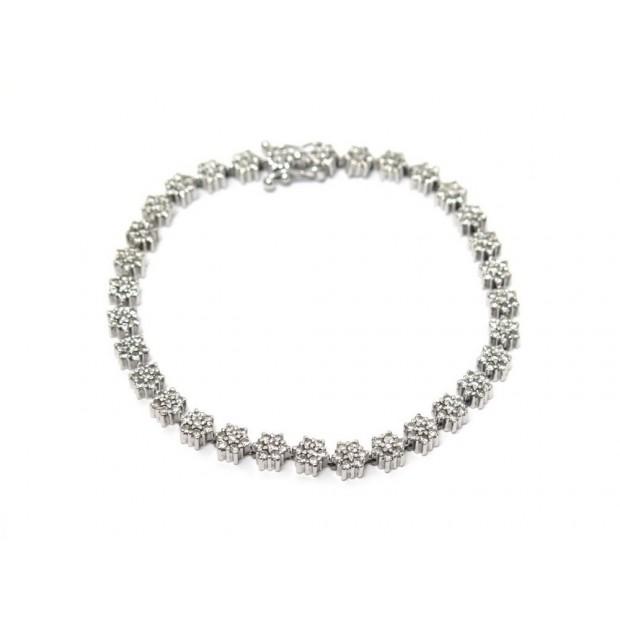 BRACELET ART DECO T 19 EN OR BLANC 18K 14 GR 224 DIAMANTS 1.12 CARAT DIAMONDS
