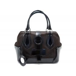 SAC A MAIN BALENCIAGA RING BAG 163527 EN CUIR NOIR DAIM MARRON HAND BAG 1200€