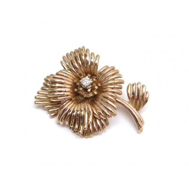 VINTAGE NEUF BROCHE FLEUR EN OR ROSE 18K 12GR DIAMANT 0.18CT GOLD DIAMOND BROOCH