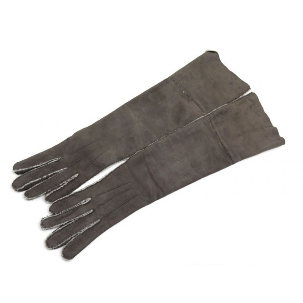 NEUF GANTS HERMES LONG AGNEAU TAUPE FOURRE TAILLE 7.5 GREY LINED GLOVES NEW 690€