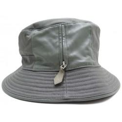 CHAPEAU HERMES OXYGENE TAILLE 61 EN COTON & CUIR GRIS GREY COTTON HAT 350€