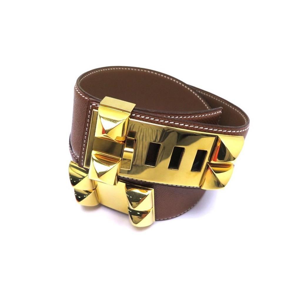 3a91d0f46f17 ceinture hermes medor t 70 en cuir courchevel marron