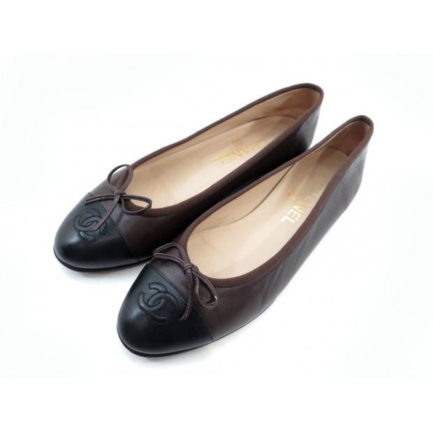 NEUF CHAUSSURES CHANEL 38.5 BALLERINES CUIR MARRON LEATHER BROWN SHOES 500€