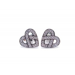 BOUCLE OREILLE POIRAY BO COEUR ENTRELACE OR GRIS 18K & DIAMANTS EARRINGS 2100€