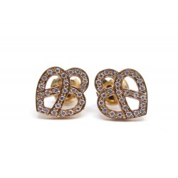 BOUCLES D'OREILLES POIRAY BO COEUR ENTRELACE OR ROSE & DIAMANTS EARRINGS 1190€
