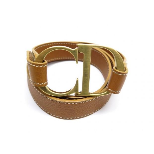 acheter en ligne 5f084 32622 ceinture christian dior logo cd t 95 en cuir marron