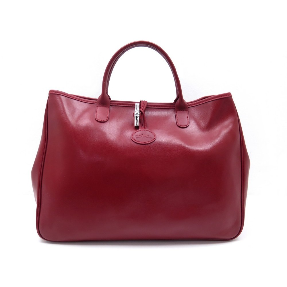 sac a main longchamp roseau heritage 40 cm cuir rouge