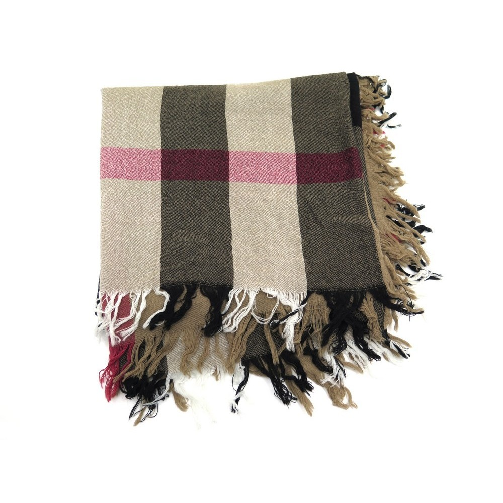 d490614c47e NEUF FOULARD BURBERRY GRAND CARRE CHECK EN LAINE MARRON BROWN WOOL SCARF  390€. Loading zoom