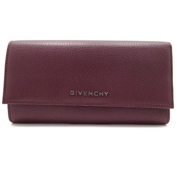 NEUF PORTEFEUILLE GIVENCHY PANDORA LONG CUIR CHEVRE ROUGE OXBLOOD WALLET 475€