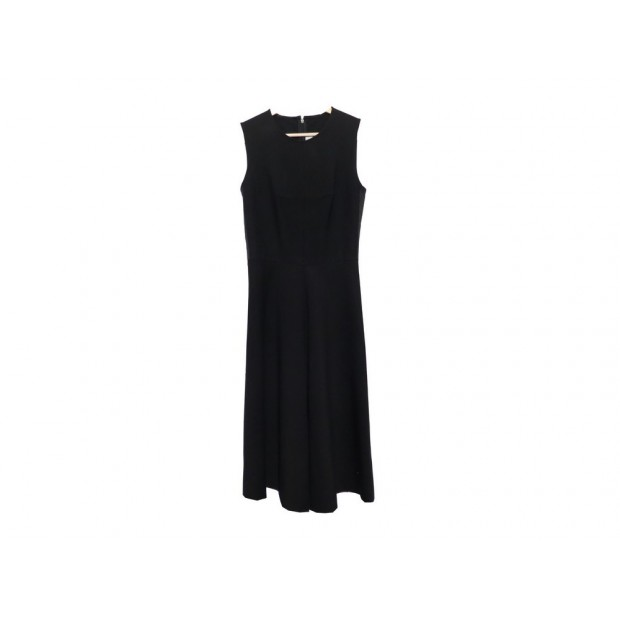 ROBE YVES SAINT LAURENT A BRETELLES T 36 S EN LAINE NOIR BLACK WOOL DRESS 1540€
