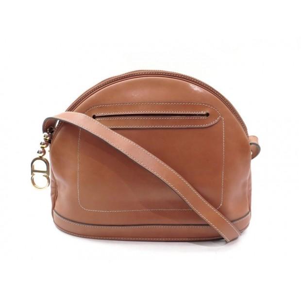 VINTAGE SAC A MAIN CHRISTIAN DIOR BANDOULIERE CUIR MARRON BROWN HAND BAG PURSE