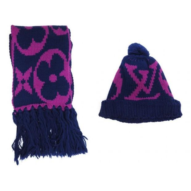 326394a3ab5 bonnet echarpe louis vuitton monogram en laine bleu