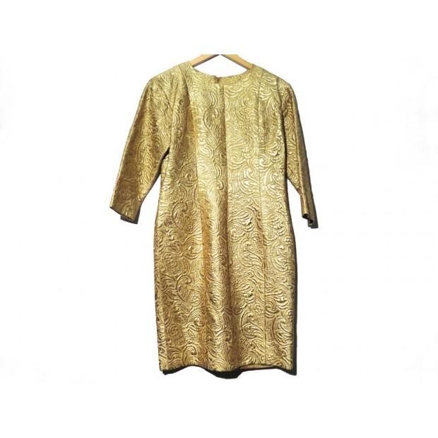 ROBE MI LONGUE YVES SAINT LAURENT 42 L EN LAINE DORE GOLDEN WOOL DRESS 2000€